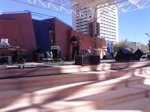 On stage at the Civic Plaza, Albuquerque